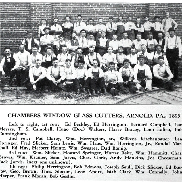 Glass cutters pose for photo