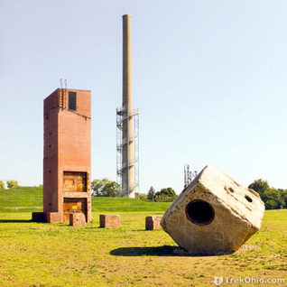 Some remains of the plant including the smoke stack turned into a operation tower.  A wonderful concept.
