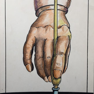 This depiction by V.L.Martin of the proper way to cut with a hand diamond.
