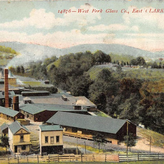 Color post card view of the West Fork Glass Co. Note the Tuna is not in the photo just before the bridge.