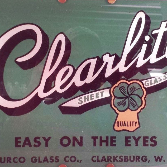 Reverse printed Clearlite logo on a lite of Fourco glass.  Weston museum.