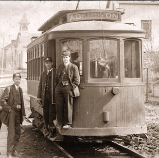 This trolley near Victory high school brought Adamston workers from all parts of Clarksburg.