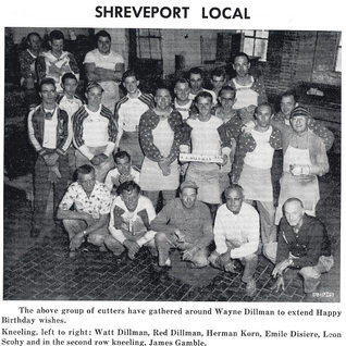 Glass cutters at Shreveport around 1955.