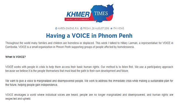 Having a VOICE in Phnom Penh Hillary Larman