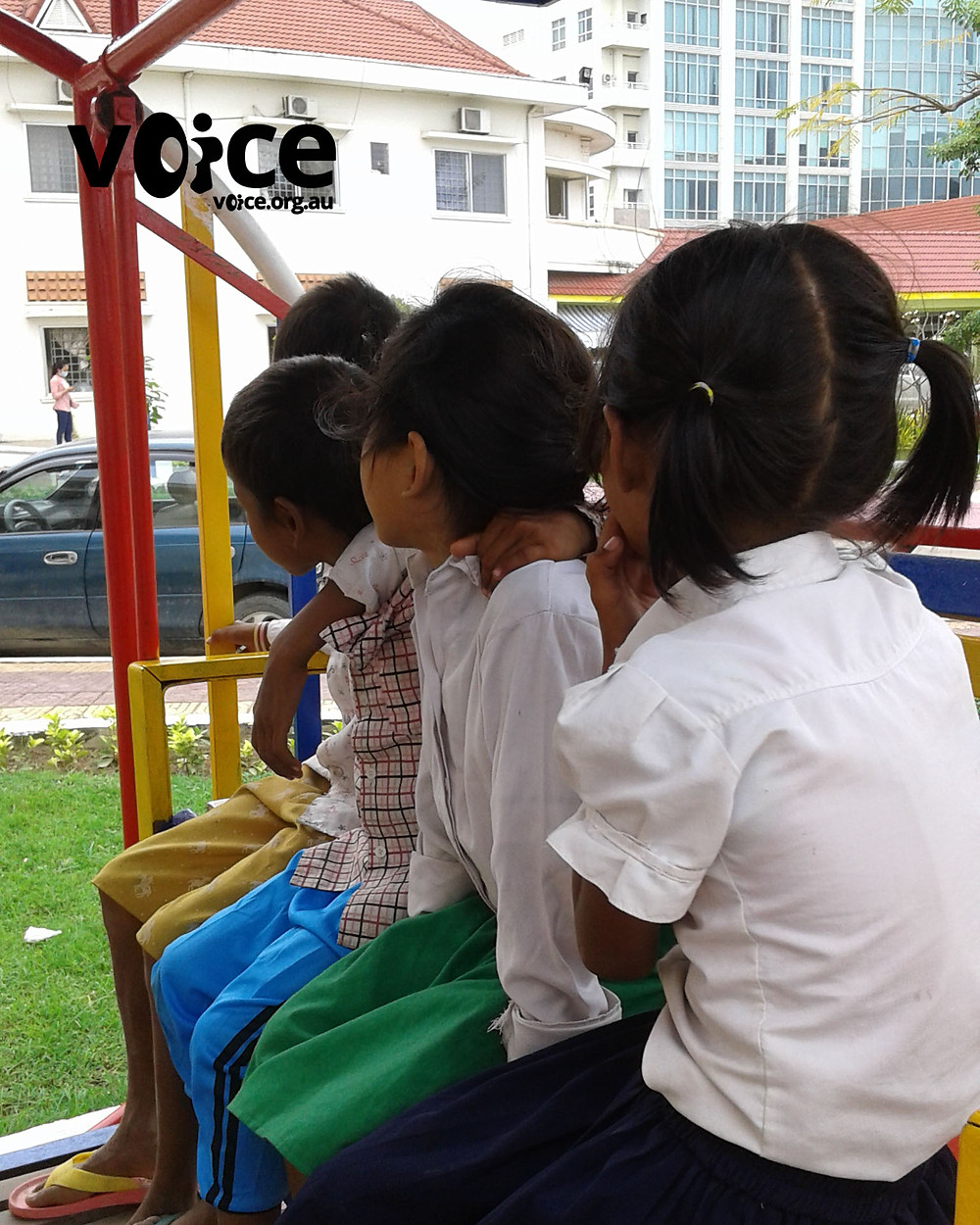 Children with Thalassaemia Major sit on bench