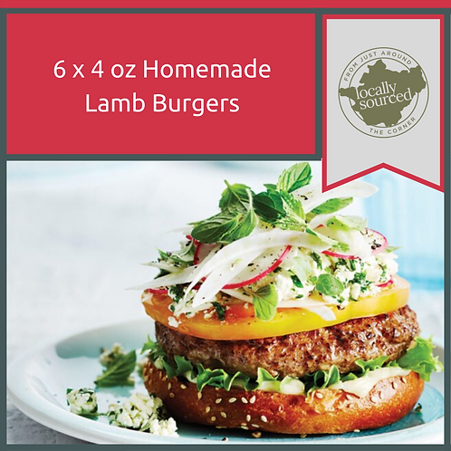 Home Made Lamb Burgers 6 x 4 oz
