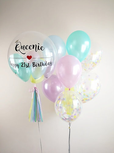 Personalised Crystal Balloon in Pearly Pastel
