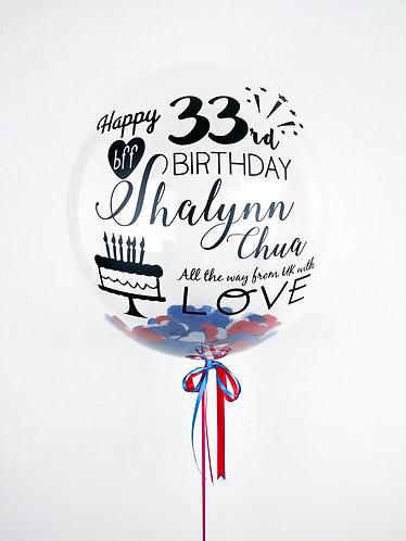 "24"" Personalised Balloon /w ❤ Confetti"