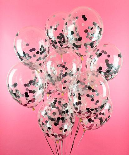 Silver Black Confetti Balloon Pack