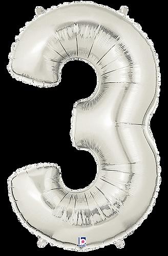 Numeric '3' in Silver