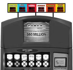 Dispenser jackpot sign on vending machine