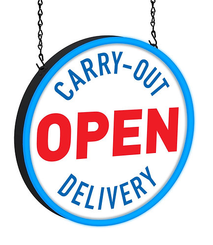 Open for Carry-Out Delivery LED Sign