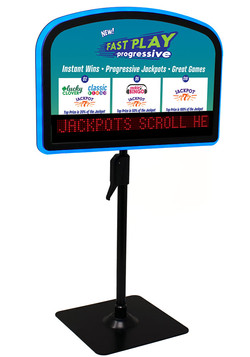 Arched easel with progressive jackpot or scrolling messages