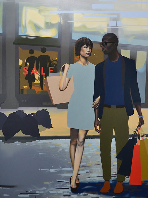 """""""Shoppers"""" Limited Edition Print, Oil Painting by Dustin Joyce."""