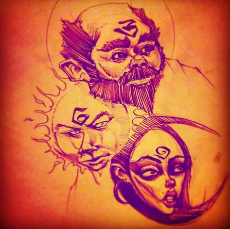 Saturn, Sol and Luna_#sketch #facesinnat
