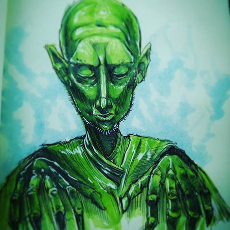 Green man the puppeteer, the piano playe