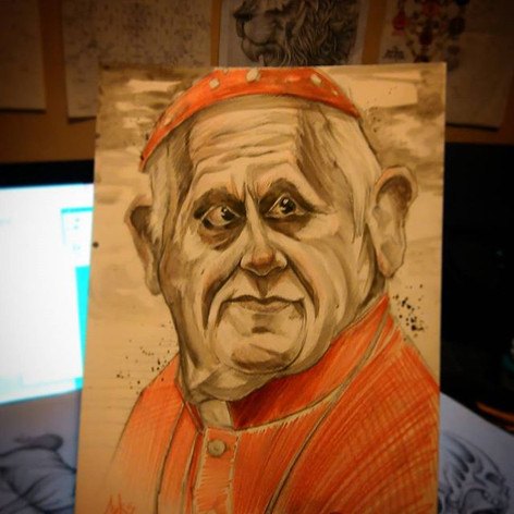 #pope #caricature #colourpencil #illustr