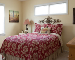 guest bedroom red and cream