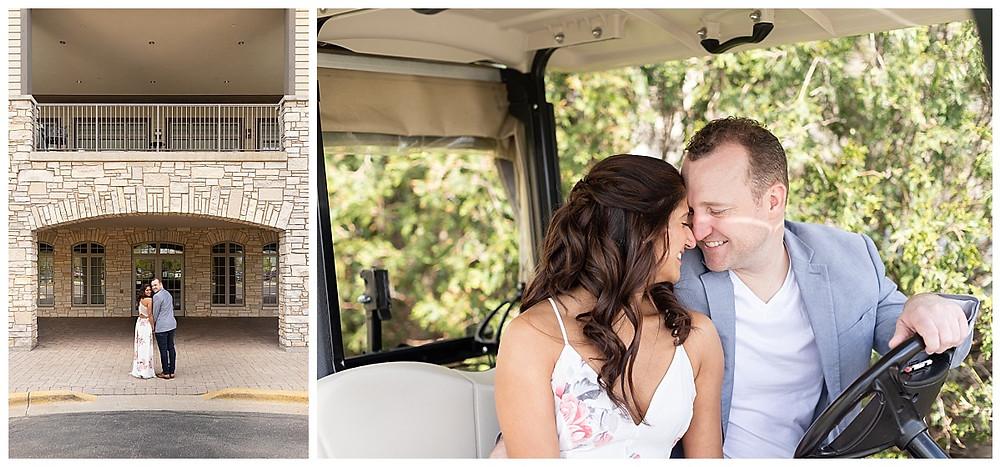 golf club engagement photos, bolingbrook golf club, couples portraits, golf cart couples photos