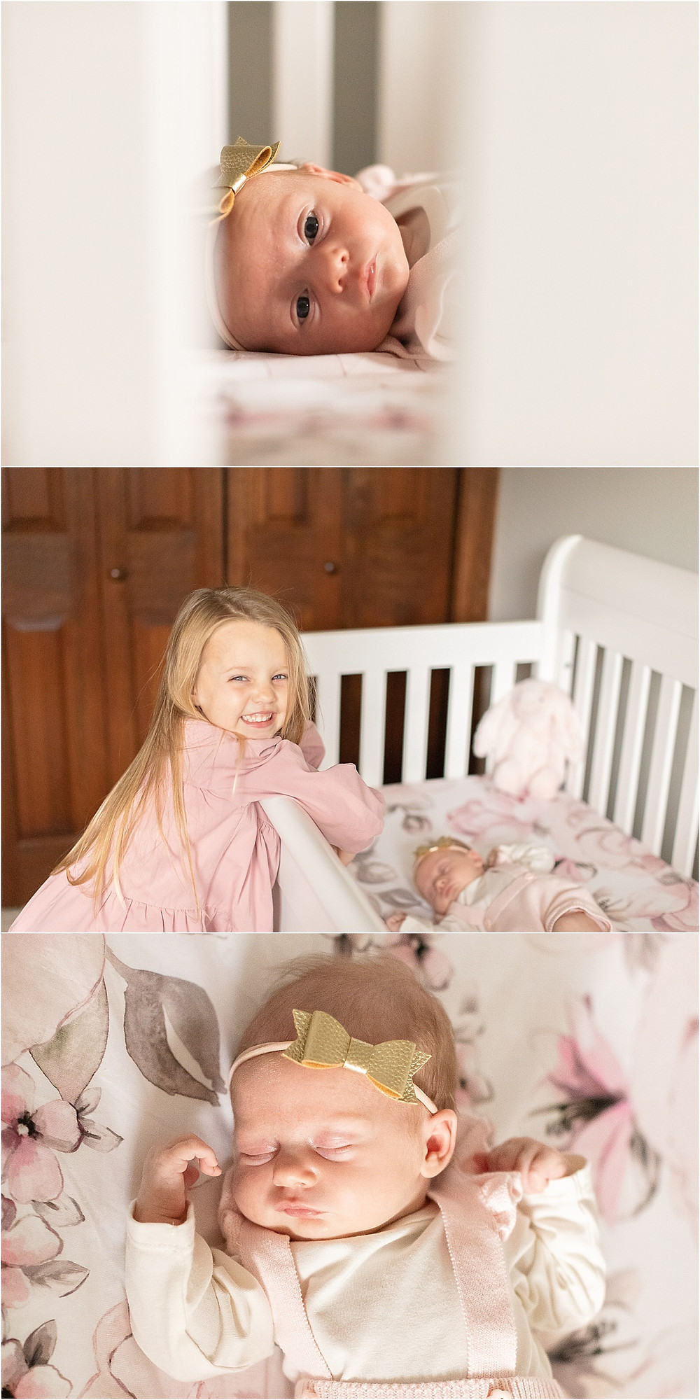 darien il lifestyle newborn session, family of four, sisters, pink blush white grey nursery, sweet baby photos, newborn photos, newborn photographer near me