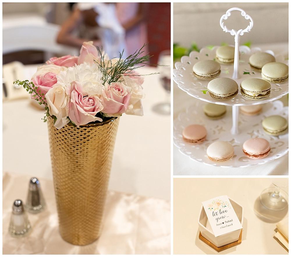 blush and white florals decorations, gold vase, seed favors, bridal shower decor, macaroons, bridal shower favors