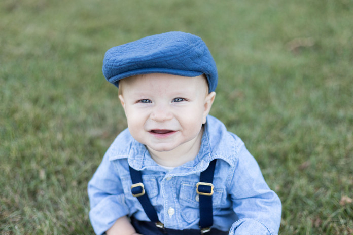 boy in blue hat and suspenders sitter ph