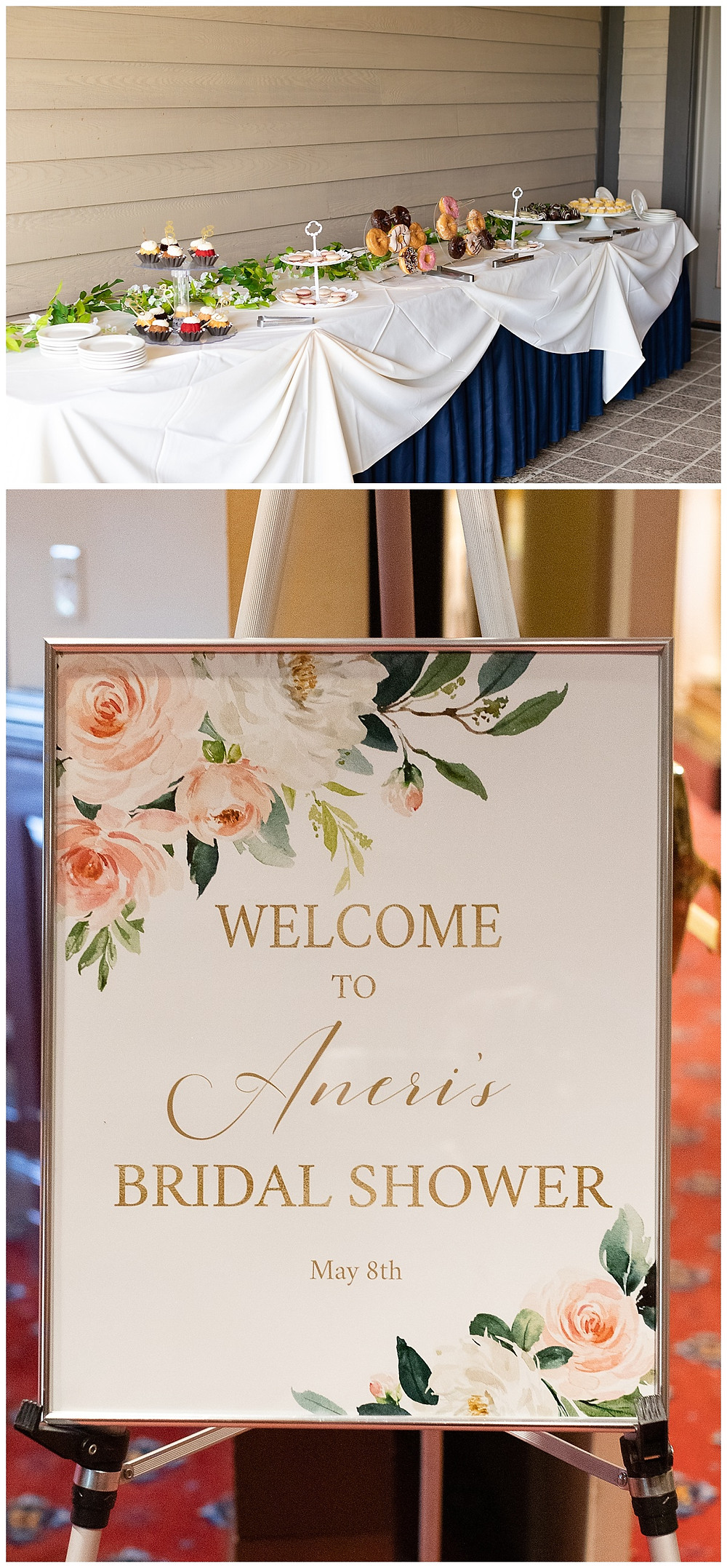 bridal shower sweets table, bridal shower welcome sign, blush, cream and gold florals