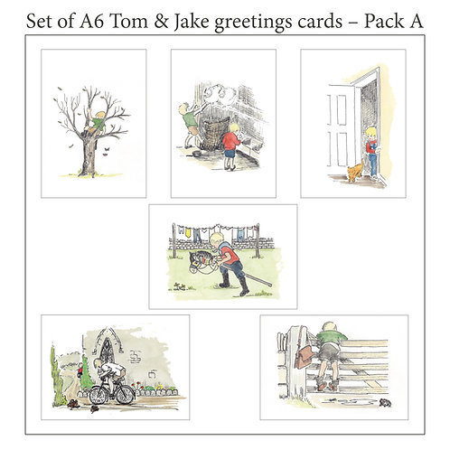 Tom & Jake A6 blank cards with envelopes - Pack A