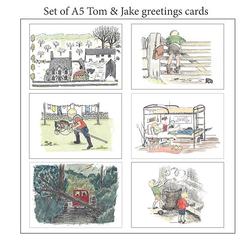 Tom & Jake A5 blank cards - 6 pack with envelopes