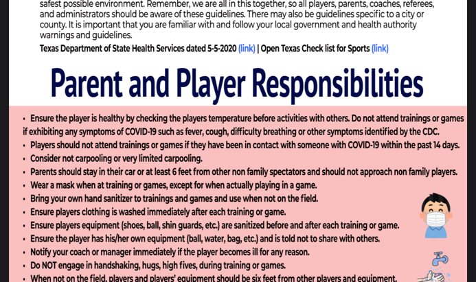 Return to training and player Guidelines