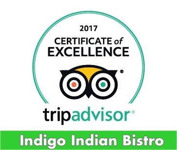 TripAdvisor Certificate of Excellence | Indigo Indian Bistro