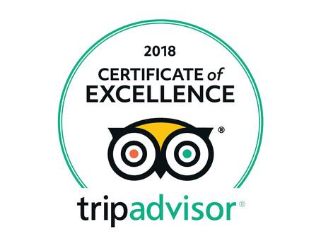 Certificate of Excellence - 2018 TripAdvisor