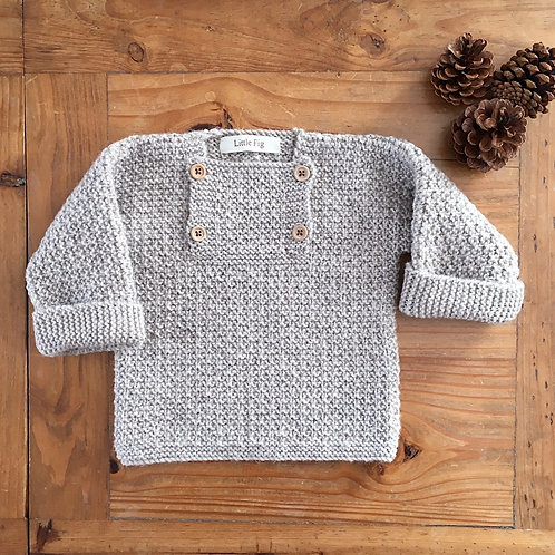 Teddy brown knitted bib front kids jumper by Little Fig