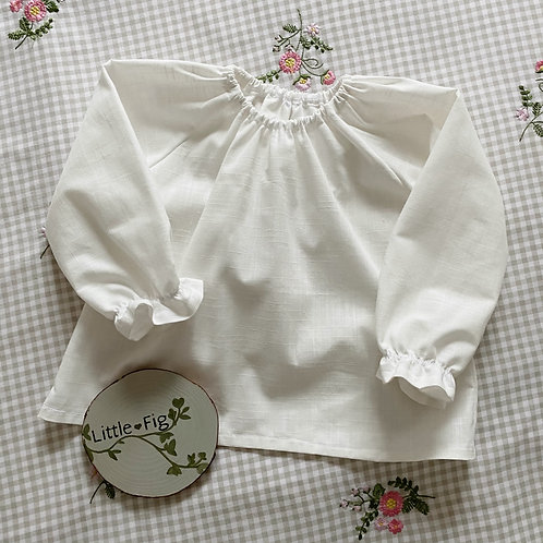 MAISIE White Cotton Linen Look Gathered Blouse
