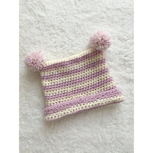 Handmade crochet pom pom ear baby bobble hat in pink and white stripe