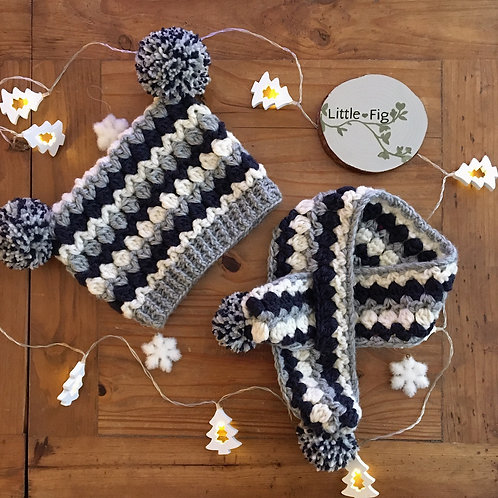 Double Bobble Crochet Hat and Scarf Set