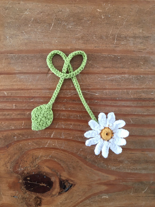 Handmade crochet baby umbilical cord tie with crochet white daisy and leaf