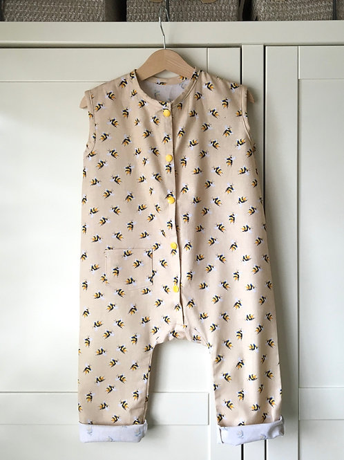 Jude bee print linen look cotton children's jumpsuit in beige with bee print by Little Fig