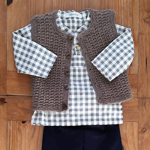 Lumberjack style check baby shirt with button and loop fastening and waistcoat