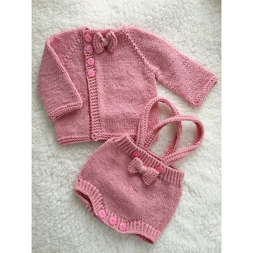 Pink bow knitted baby shorts and cardigan set with side button cardigan