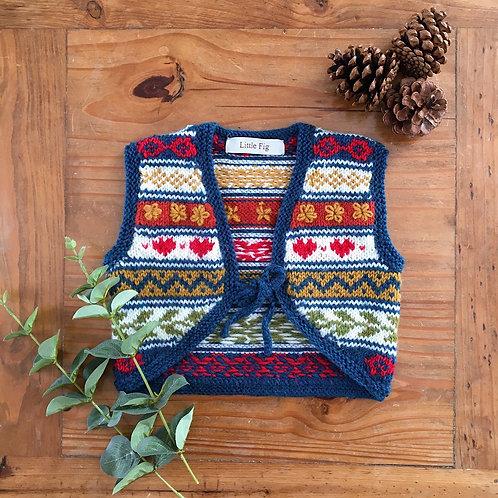 Hannah handmade knitted fair isle childrens waistcoat by Little Fig