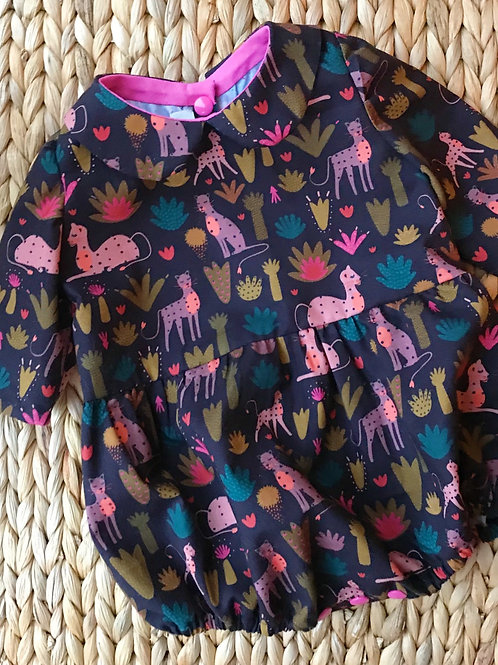 Cat and flower print baby romper with peter pan collar