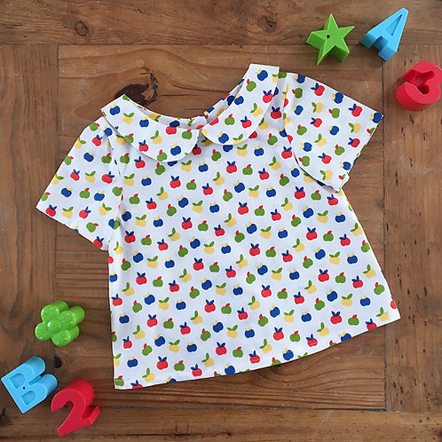 Handmade apple print peter pan collar kids baby blouse with short sleeves
