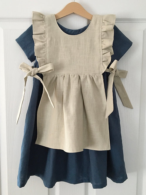 Daisy navy linen children's dress by Little fig with apron by Little Fig