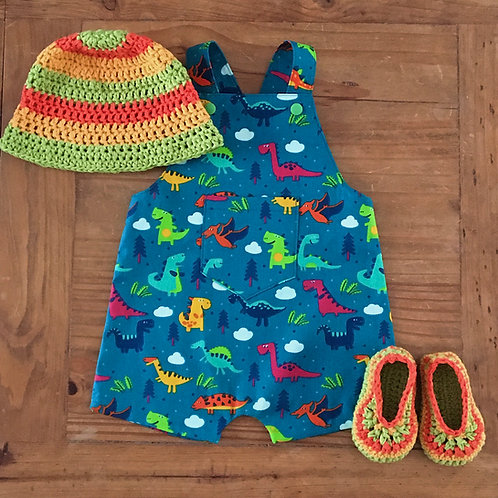Handmade baby blue dinosaur print shorts summer dungarees with crochet hat and slippers