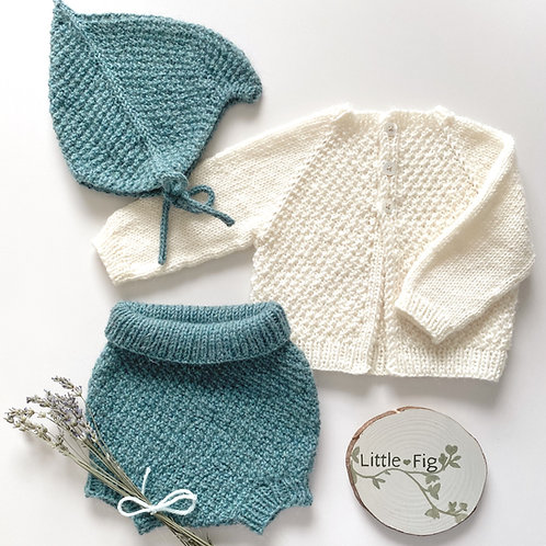Handmade sea green and off white knitted layette set for newborn gift with bonnet, bloomers and cardigan by little fig