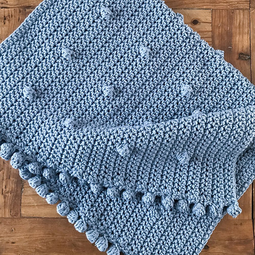 Crochet bobble trim blue acrylic baby blanket