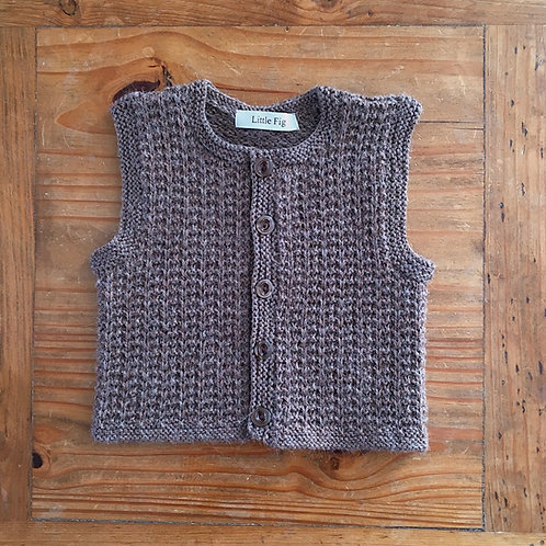 Brown basket weave style children's waistcoat by Little Fig