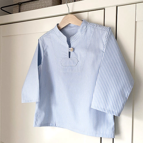 SAGE White and Blue Cotton Eton Stripe Shirt