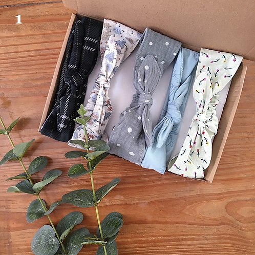 Handmade baby bow headband gift box in blues and greens with printed fabric